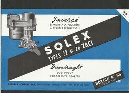 SOLEX Notice N° 65 Juillet 1949 - Old Paper