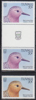 Tuvalu (1988) Red-necked Stint. Color Error In Gutter Pair. The Bird's Head Is Violet Instead Of Brown. Scott No 481, Yv - Songbirds & Tree Dwellers