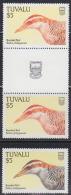 Tuvalu (1988) Banded Rail. Color Error In Gutter Pair. The Bird  Is Orange Instead Of Black. Scott No 484, Yvert No 483. - Songbirds & Tree Dwellers