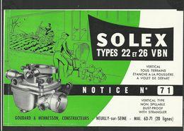 SOLEX Notice N° 71 - Vieux Papiers