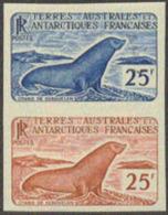 FSAT (1960) Weddell Seal. Trial Color Proof Pair In Different Colors.  Scott No 18, Yvert No 16. - Non Dentelés, épreuves & Variétés