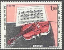 """France (1965) """"The Red Violin"""". Variety With Color Red Shifted Up Resulting In Doubling Of Image Of Violin.  Scott No 11 - Kuriositäten: 1960-69 Ungebraucht"""