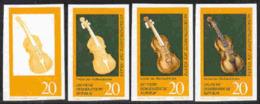 East Germany (1971) Violin. Set Of 4 Imperforate Progressive Proofs. Marneukirchen Music Museum. Scott No 1332, Yvert No - Errors And Oddities