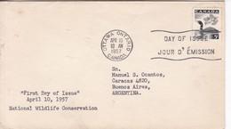 NATIONAL WILDLIFE CONSERVATION. FDC CANADA OTTAWA CIRCA 1957. - BLEUP - 1952-1960