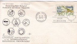 HONOURING CANADIAN PARTICIPATION IN THE INTERNATIONAL BIOLOGICAL PROGRAMME. FDC CANADA OTTAWA CIRCA 1970. - BLEUP - First Day Covers