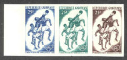 Gabon (1965) Field Ball. Trial Color Proof Strip Of 3 With Different Colors. First African Games. Scott No 183, Yvert No - Gabon