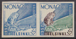 Monaco (1953) Louis II Stadium. Trial Color Proof Pair. Scott No 300.  Yvert No 391. - Summer 1952: Helsinki