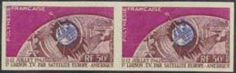 French Polynesia (1962) Telstar. Imperforate Pair.  Scott No C29, Yvert No PA6. - Non Dentelés, épreuves & Variétés