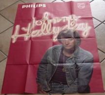 AFFICHE ANCIENNE ORIGINALE CHANTEUR JOHNNY HALLYDAY LABEL PHILIPS Maquette Leys Photo Leloup Etbt St Martin TBE - Posters