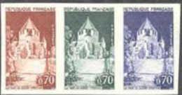 France (1963) Caesar's Tower. Trial Color Proofs In Strip Of 3 Different Colors.  Scott No 1102, Yvert No 1392a - Essais