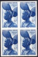 AOF (1947) Fula Woman. Imperforate Block Of 4.  Scott No 50, Yvert No 39. - A.O.F. (1934-1959)