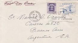 FDC CANADA OTTAWA CIRCA 1955 CIRCULEE BUENOS AIRES. - BLEUP - 1952-1960