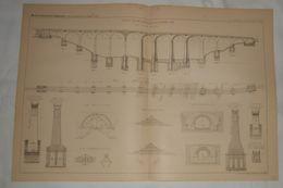 Plan Du Viaduc En Maçonnerie Sur La Rivière Esk En Ecosse. 1887. - Public Works