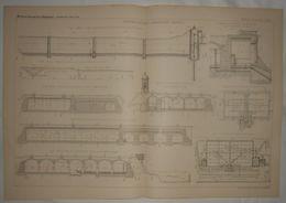 Plan De La Distribution D'eau De Mulhouse En Alsace. 1885. - Travaux Publics