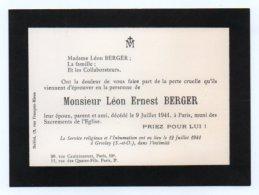 Faire Part De Deces 003, Monsieur Léon Ernest Berger Décés 1941, Inhumation à Groslay Seine Et Oise - Décès