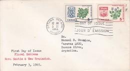 FLORAL EMBLEMS NOVA SCOTIA & NEW BRUNSWICK. FDC CANADA OTTAWA CIRCA 1965 - BLEUP - First Day Covers