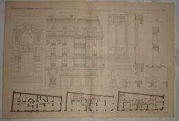 Plan D'une Maison De Rapport, Rue Boissy D'Anglas à Paris.M.M. Denfert Et Friese, Architectes. 1887. - Travaux Publics