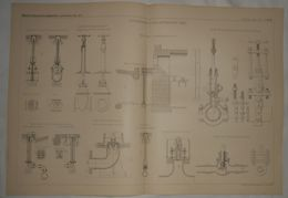 Plan Des Accessoires D'une Distribution D'eau. 1887. - Travaux Publics