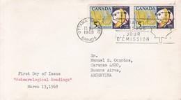 METEOROLOGICAL READINGS. FDC CANADA OTTAWA CIRCA 1968 - BLEUP - First Day Covers