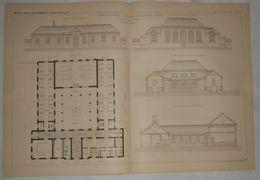 Plans Des Bâtiments Des Bains, De L'Hôpital Saint Antoine à Paris. M. A. Grandjacquet, Architecte. 1885. - Travaux Publics