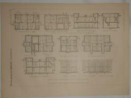 Plan D'une Colonie Ouvrière De Leinhausen Près De Hanovre En Allemagne. 1885. - Travaux Publics