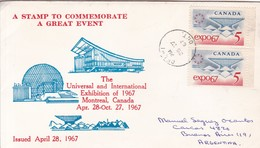 UNIVERSAL AND INTERNATIONAL EXHIBITION OF MONTREAL 1967. FDC CANADA DELHI CIRCA 1967 - BLEUP - First Day Covers