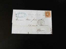 LETTRE DU HAVRE POUR PARIS  -  OBLITERATION LOSANGE  -  OBLITERATION LOSANGE - BEAU  40 C EMPIRE FRANC ORANGE -  1869  - - 1849-1876: Classic Period