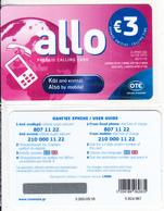 GREECE - Allo Card, OTE Prepaid Card 3 Euro, Tirage 3000, 05/18, Mint - Greece