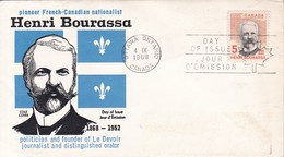 HENRI BOURASSA. FDC CANADA OTTAWA CIRCA 1968 - BLEUP - First Day Covers