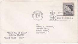 ROYAL VISIT. FDC CANADA OTTAWA CIRCA 1957 - BLEUP - First Day Covers