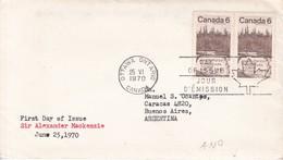 SIR ALEXANDER MACKENZIE FDC CANADA OTTAWA CIRCA 1970 - BLEUP - First Day Covers