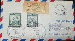 O) 1949 PARAGUAY, HONOR THE BAREFEET - POLITICAL ENLIGHTENMENT, SCOTT A119  69c - 5 GARANIES-PYNANDI, REGISTERED TO USA - Paraguay