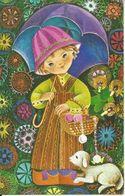 CPM  Meilleurs Vœux  2 Volets  Jeune Fille  Parapluie  Agneau - Nouvel An