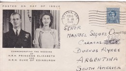COMMMEMORATING THE WEDDING OF HRH PRINCES ELIZABETH AND HRH DUKE OF EDINBURG. FDC CANADA OTTAWA CIRCA 1948 - BLEUP - First Day Covers