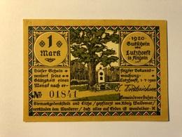 Allemagne Notgeld Lutzhoeft 1 Mark - [ 3] 1918-1933 : Weimar Republic