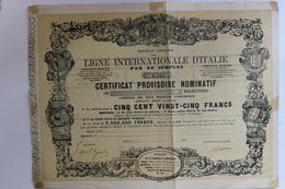 Action 1868 Ligne Internationale D'Italie Par Le Simplon - Ferrovie & Tranvie
