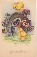 Joyeuses Paques : Fer A Cheval,  Fleurs Et Poussins - Ostern