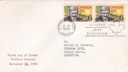 STEPHEN LEACOCK. FDC CANADA OTTAWA CIRCA 1969 - BLEUP - First Day Covers