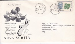 MAYFLOWER PROVINCIAL FLORAL EMBLEM SERIES NOVA SCOTIA. FDC CANADA VICTORIA CIRCA 1965 - BLEUP - First Day Covers