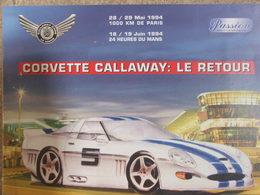 Sport Automobile - 24 Heures Du Mans 1994 - Plaquette Corvette Callaway - Vieux Papiers