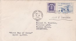 FIRST DAY ISSUE. FDC CANADA OTTAWA CIRCA 1955. BANDELETA PARLANTE - BLEUP - 1952-1960