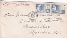 FDC CANADA OTTAWA CIRCA 1955. CIRCULEE TO BUENOS AIRES - BLEUP - 1952-1960