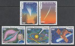 SERIE NEUVE DU CONGO - PASSAGE DE LA COMETE DE HALLEY N° Y&T PA 343 A 347 - Astronomie