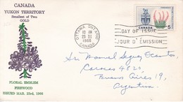 YUKON TERITORY SMALLEST OF TWO GOLD FLORAL EMBLEM FIREWOOD. FDC CANADA OTTAWA CIRCA 1966 - BLEUP - First Day Covers