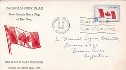 CANADA'S NEW FLAG. THE MAPLE LEAF FOREVER. FDC CANADA OTTAWA CIRCA 1965 - BLEUP - First Day Covers