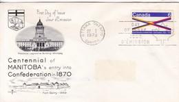 CENTENNIAL OF MANITOBA'S ENTRI INTO CONFEDERATION. FDC CANADA OTTAWA CIRCA 1970 - BLEUP - First Day Covers