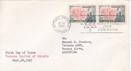 TORONTO CAPITAL OF ONTARIO. FDC CANADA OTTAWA CIRCA 1967 - BLEUP - First Day Covers