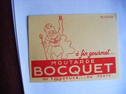 MOUTARDE BOCQUET OU DOUCE OU FORTE ANCIEN BUVARD PUBLICITAIRE PUBLICITE T.B.E. - Mostard