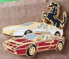 DEUX FERRARI ROUGE ET BLANCHE - CHEVAL NOIR  CABRE - CREATION ELIXYR POUR ALFORT SPORT GARAGE - ASG -     (19) - Ferrari