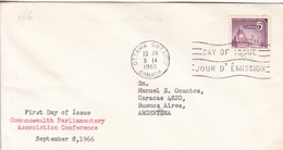COMMONWEALTH PARLIAMENTARY ASSOCIATION CONFERENCE. FDC CANADA OTTAWA CIRCA 1966 - BLEUP - First Day Covers